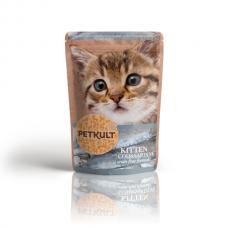 Hrana umeda pentru pisici junioare Petkult cu cod si sardine 100 g