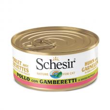 Hrana umeda pentru pisici Schesir cu pui si creveti in supa 70 g