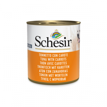 Hrana umeda pentru caini Schesir Adult cu ton si morcovi 285 g