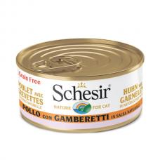 Hrana umeda pentru pisici Schesir cu Pui si Creveti in Suc Propriu 70gr