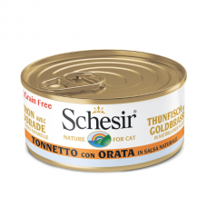 Hrana umeda pentru pisici Schesir cu Ton si Dorada in Suc Propriu 70gr