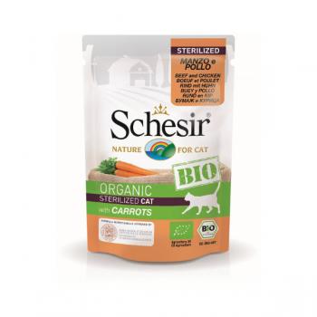 Hrană umedă pentru pisici Schesir Bio cu Vită/Pui/Morcov 85 gr