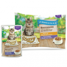 Hrana umeda pentru pisici Stuzzy Sterilized Bucati de pui si curcan in sos 4x85g