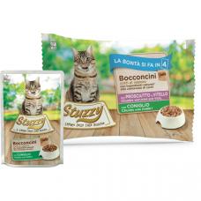 Hrana umeda pentru pisici Stuzzy Pack Bucati de sunca&vitel/iepure in gelatina 4x85g