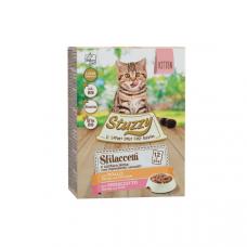 Hrana umeda pentru pisici Stuzzy Kitten Pack Bucati de pui&sunca in sos 12x85g