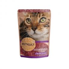Hrana umeda pentru pisici Petkult Sterilizat cu Miel 100g