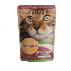 Hrana umeda pentru pisici Petkult Sterilizat cu Rata 100g