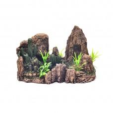 Decor pentru acvariu Enjoy Piatra cu plante 21.5x10.5x13.5 cm