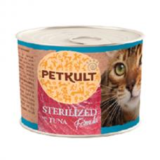 Hrana umeda pentru pisici Petkult Sterilised cu ton 185 g