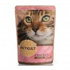 Hrana umeda pentru pisici Petkult cu pui 100 g