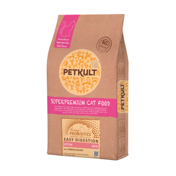 Hrana uscata pentru pisici Petkult Probiotics Kitten cu miel si pui 7 kg